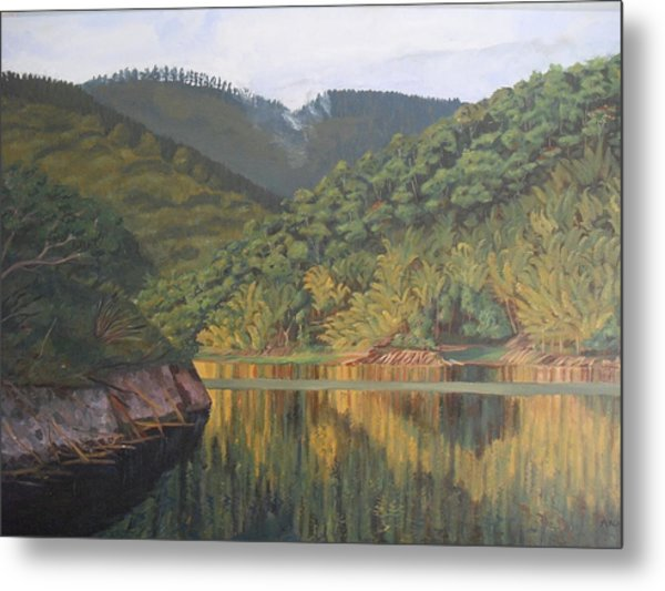 Reflections At The Dam Metal Print by Anji Worton