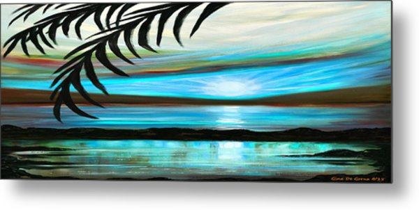 Reflections In Teal - Panoramic Sunset Metal Print