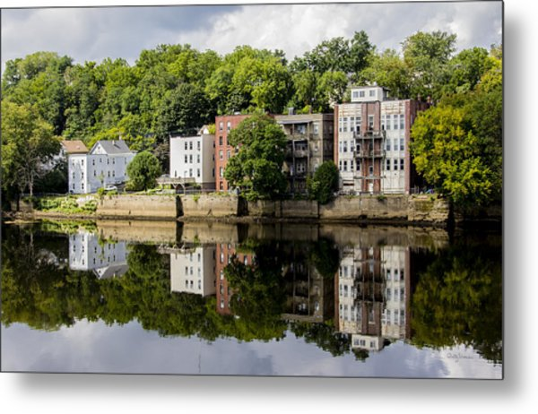 Reflections Of Haverhill On The Merrimack River Metal Print