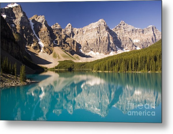 Reflections Of Moraine Lake Metal Print by Andrew Serff