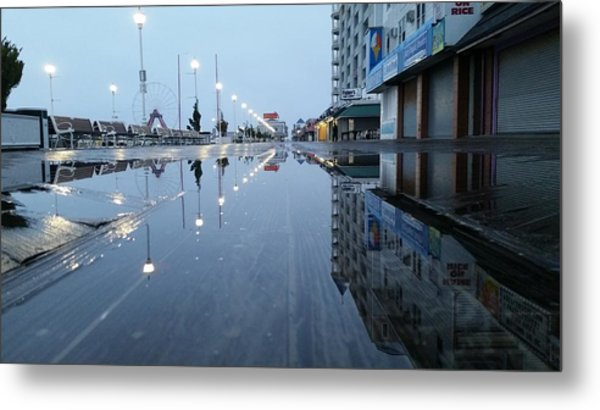Reflections Of The Boardwalk Metal Print