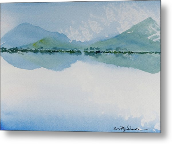 Reflections Of The Skies And Mountains Surrounding Bathurst Harbour Metal Print