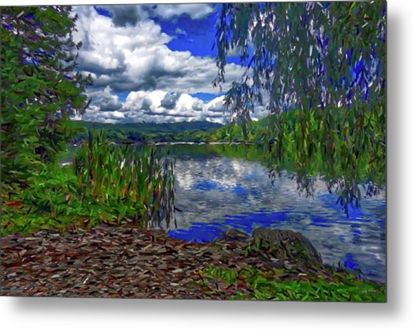 Metal Print featuring the painting Reflective Lake by Joan Reese