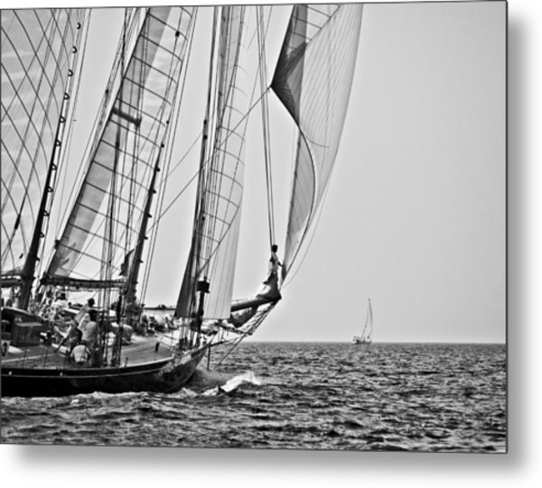 Regatta Heroes In A Calm Mediterranean Sea In Black And White Metal Print