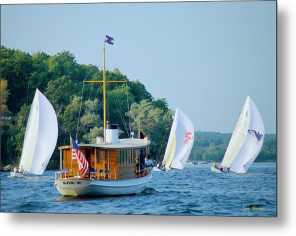 Regatta Watcher - Lake Geneva Wisconsin Metal Print