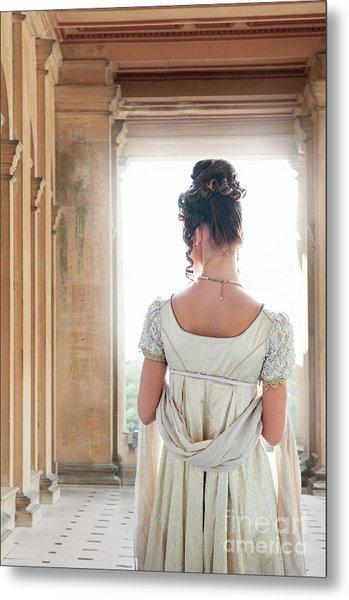 Regency Woman Under A Colonnade Metal Print