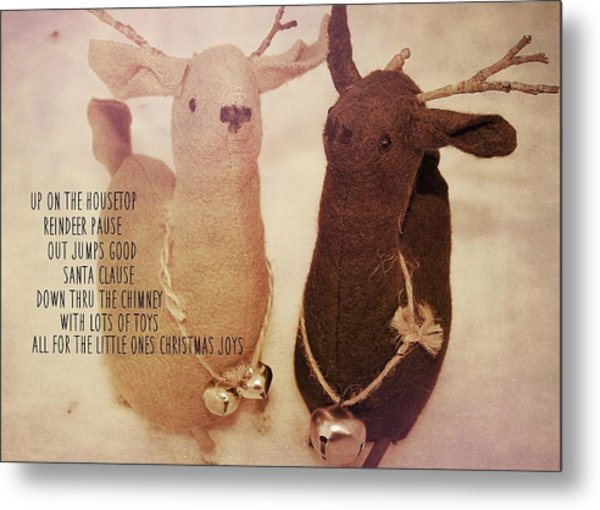 Reindeer Joys Quote Metal Print by JAMART Photography