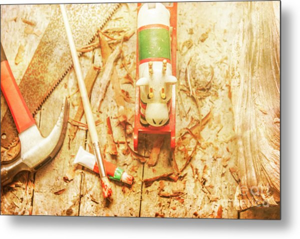 Reindeer With Tools And Wood Shavings Metal Print