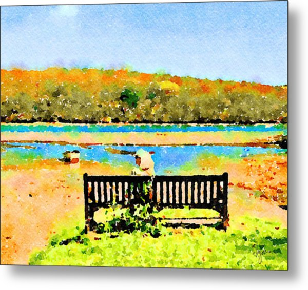 Metal Print featuring the painting Relax Down By The River by Angela Treat Lyon