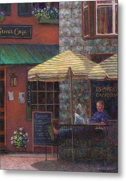 Relaxing At The Cafe Metal Print