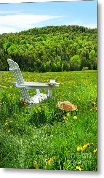 Relaxing On A Summer Chair In A Field Of Tall Grass  Metal Print