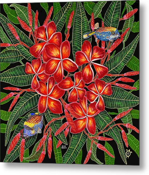 Tropical Fish Plumerias Metal Print