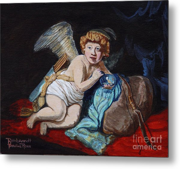 Rembrandts Cupid With A Soap Bubble With My Sons Face. Metal Print by Pauline Ross