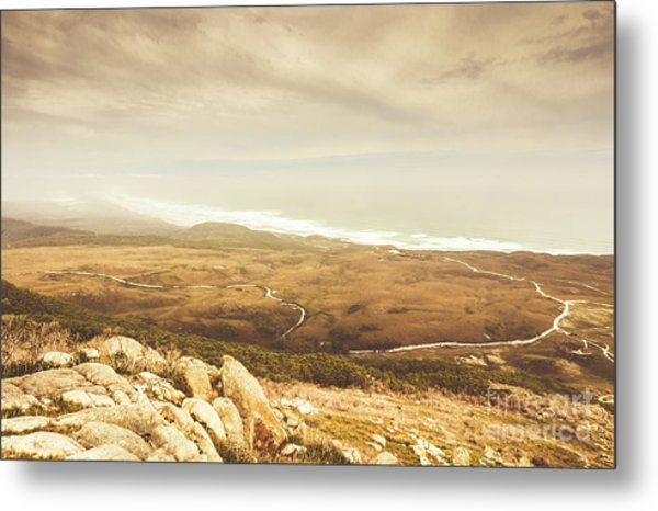 Remote Roads And Foggy Coastlines Metal Print