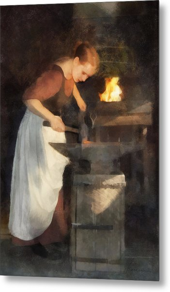Renaissance Lady Blacksmith Metal Print