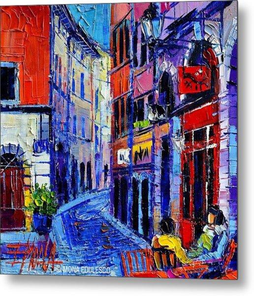 rendez-vous In Vieux Lyon 25x25 Cm Metal Print