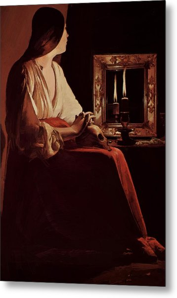 Repenting Magdalene Also Called Magdalene And Two Flames 1643 Metal Print