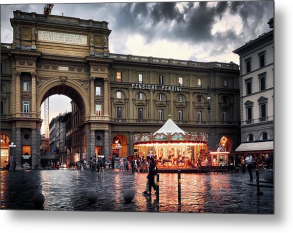 Republic Square In The City Of Florence Metal Print