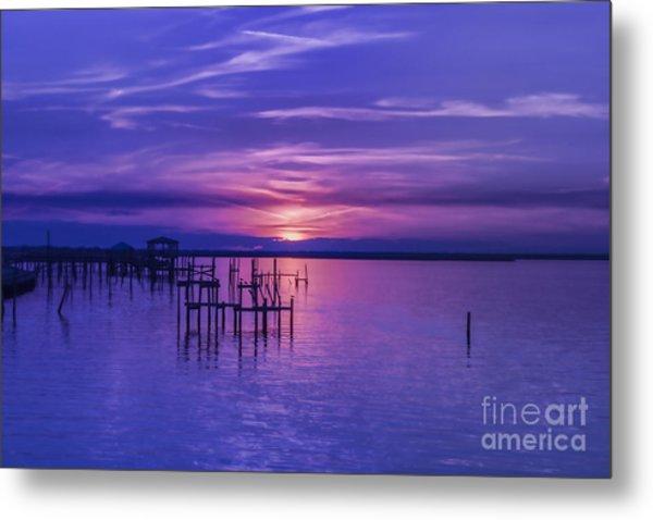 Rest Well World Purple Sunset Metal Print