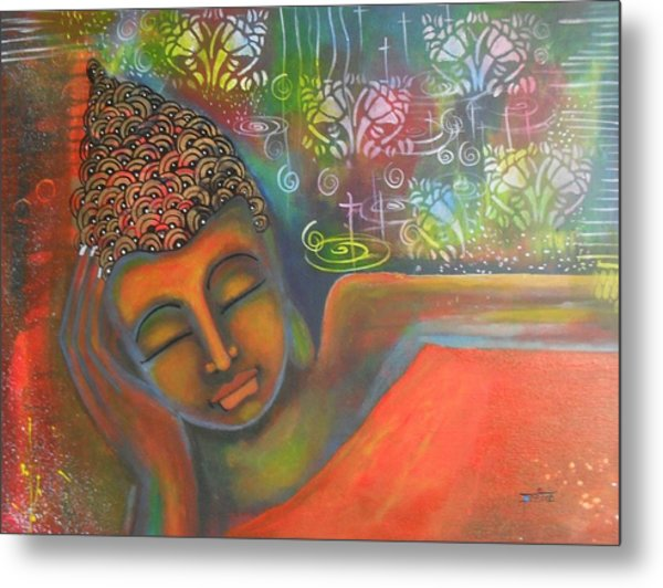 Buddha Resting Against A Colorful Backdrop Metal Print