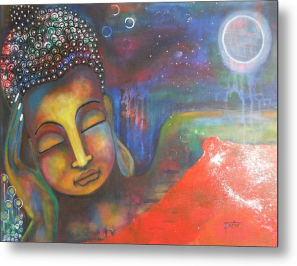Buddha Resting Under The Full Moon  Metal Print