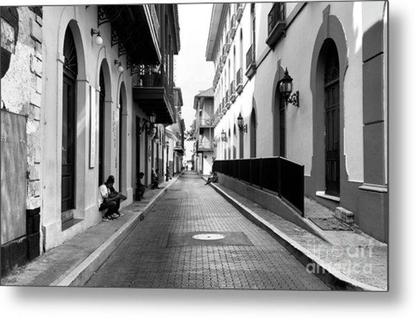Resting In Casco Viejo Mono Metal Print by John Rizzuto