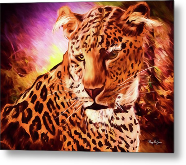 Metal Print featuring the digital art Resting Leopard by Barry Jones