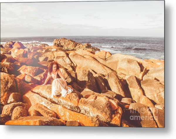 Resting On A Cliff Near The Ocean Metal Print