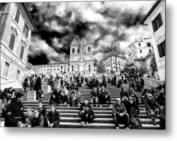 Resting On The Spanish Steps Metal Print by John Rizzuto