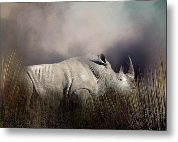 Resting Rhino Metal Print