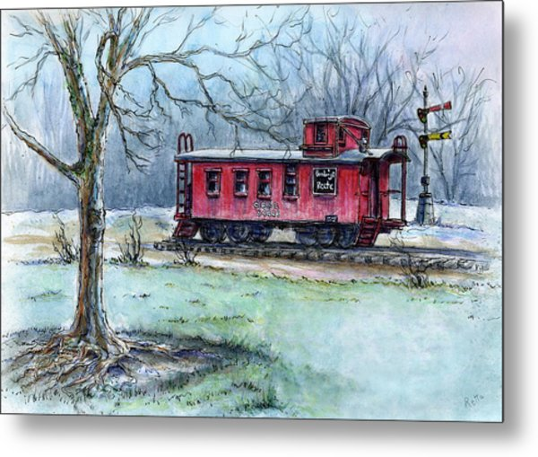 Retired Red Caboose Metal Print