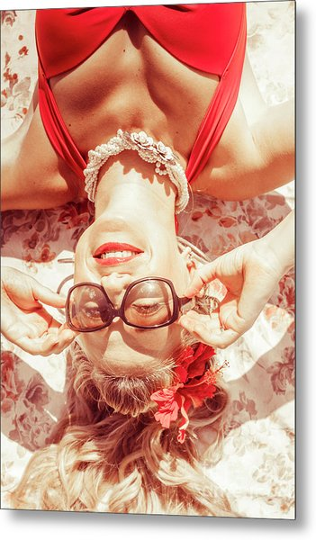 Retro 50s Beach Pinup Girl Metal Print