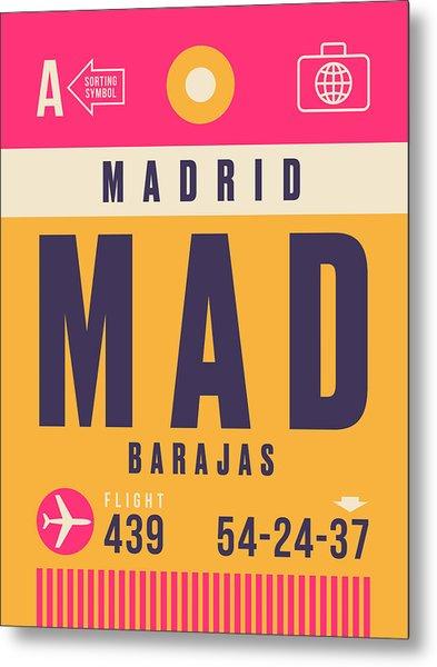 Retro Airline Luggage Tag - Mad Madrid Barajas Metal Print