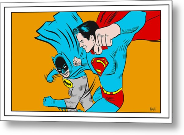 Metal Print featuring the digital art Retro Batman V Superman by Antonio Romero