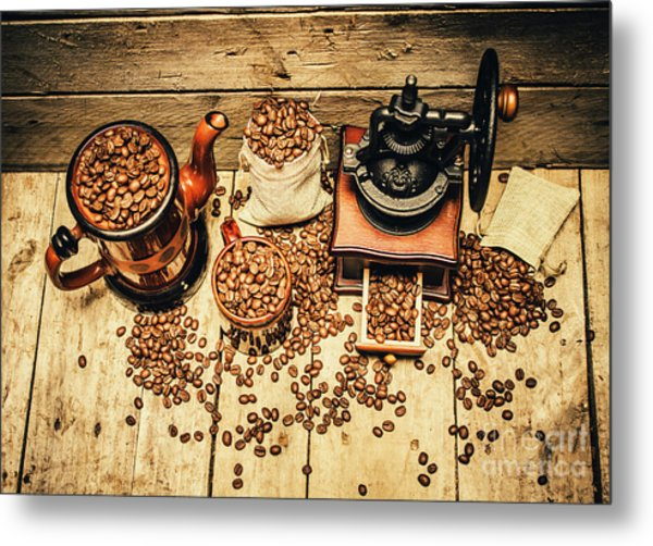 Retro Coffee Bean Mill Metal Print