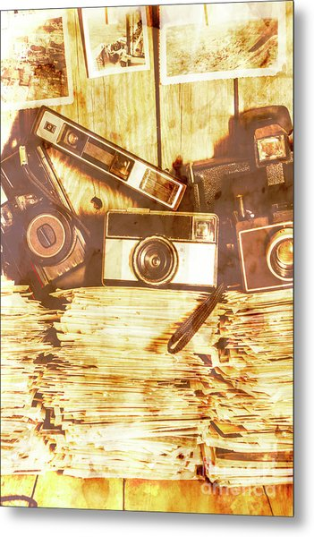 Retro Film Cameras Metal Print