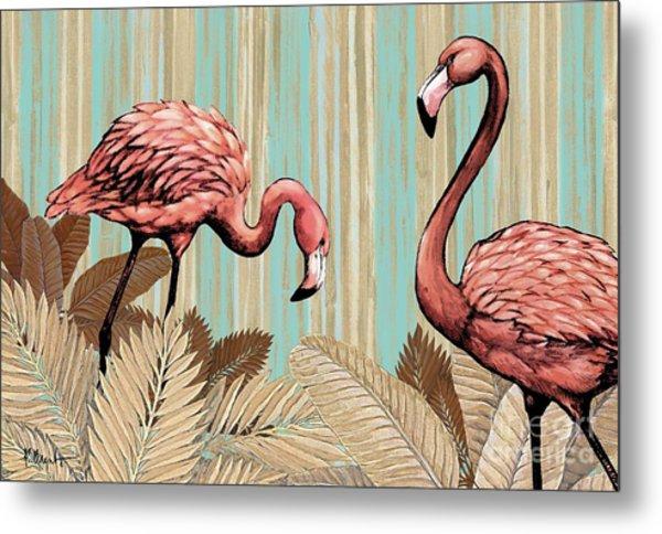 Retro Flamingo Metal Print
