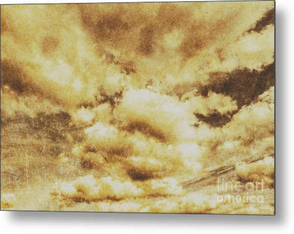 Retro Grunge Cloudy Sky Background Metal Print