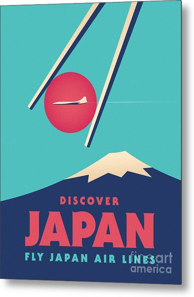 Retro Japan Mt Fuji Tourism - Cyan Metal Print