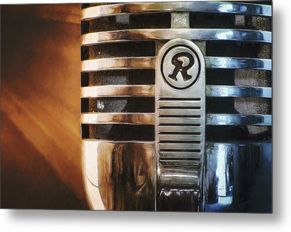 Retro Microphone Metal Print