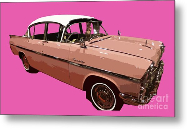 Retro Pink Car Art Metal Print
