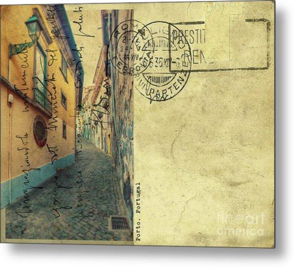 retro postcard of Porto, Portugal  Metal Print