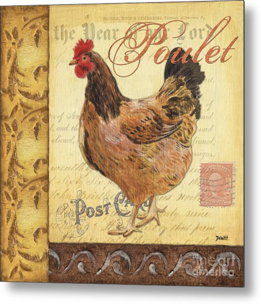 Retro Rooster 1 Metal Print