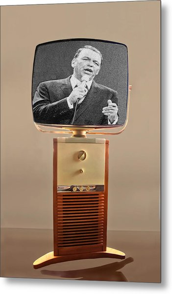 Retro Sinatra On Tv Metal Print