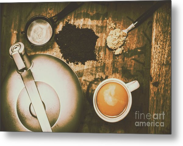 Retro Tea Background Metal Print
