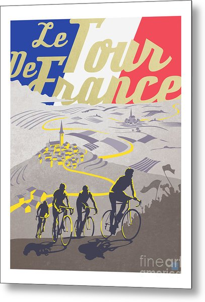 Retro Tour De France Metal Print