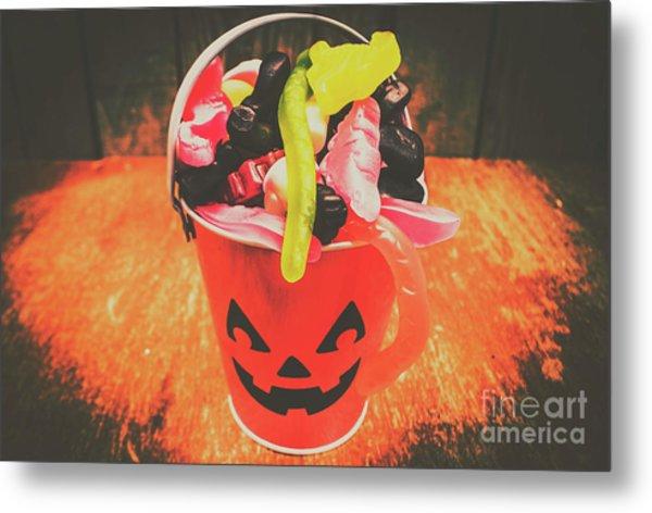 Retro Trick Or Treat Pumpkin Head  Metal Print