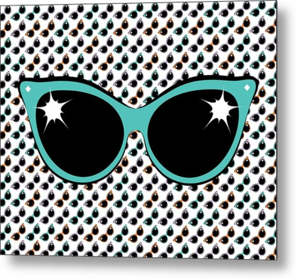 Retro Turquoise Cat Sunglasses Metal Print