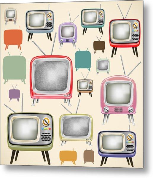 retro TV pattern  Metal Print