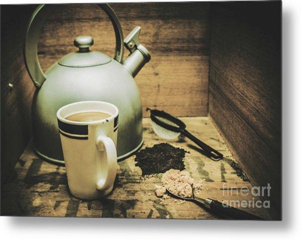 Retro Vintage Toned Tea Still Life In Crate Metal Print
